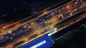 Transportation in highway in Bangkok City at night, Thailand.  stock footage