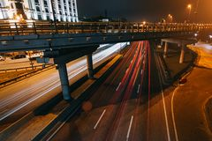 Transportation highway system with long exposure in dusk, shoted in Kyiv, Ukraine. stock photos