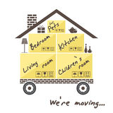 Transportation and home removal. Stylized house on wheels with boxes for moving. We're moving. Stock . Flat design Stock Image