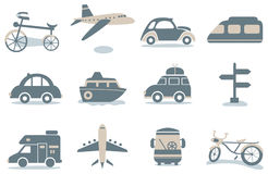 Transportation icon 01. Transportation simple icons including air plain,cars,camping car,train,ship,bicycle and bus Royalty Free Stock Photo