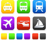 Transportation icon on internet buttons Stock Photography