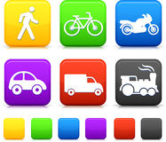 Transportation icon on internet buttons Stock Photos