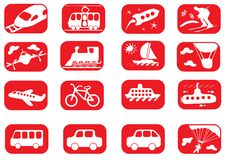 Transportation icon set. Red and white transportation icon set Royalty Free Stock Images