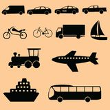 Transportation icon set on black. But you can change the color in AI, EPS. thank Royalty Free Stock Photos