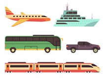 Transportation icon set in flat style. Illustrations vehicles for travel and tourism. Plane, ship, bus, car and train Stock Photo
