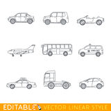 Transportation icon set. Include Ambulance Semi truck Taxi Business jet Pickup Crossover Bus Minivan and Cabriolet. Editable vector graphic in linear style Stock Photo