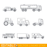 Transportation icon set. Include Old luxury car Road tanker Tractor City delivery Fire truck Lorry and Ambulance. Editable vector graphic in linear style Royalty Free Stock Photo