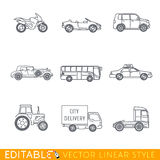 Transportation icon set. Include Semi truck Van Bus Minivan Old luxury car Taxi Tractor Cabriolet and Sport motorcycle. Editable vector graphic in linear style Royalty Free Stock Photos