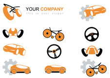 Transportation icons. A set of transportation related icons, done in orange and black. Includes car, steering wheels, bicycle and race cars. Room for text Royalty Free Stock Photo