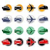Transportation icons. Set of multicolor transportation icons Stock Photos