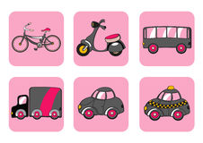 Transportation icons. Vector Illustration of transportation icons. Includes bicycle, minibike, bus, track, car and taxi on the pink background Stock Photo
