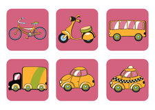 Transportation icons. Vector Illustration of transportation icons. Includes bicycle, minibike, bus, track, car and taxi on the pink background Royalty Free Stock Image