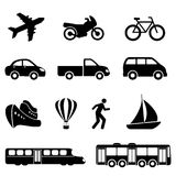 Transportation icons in black Stock Photos