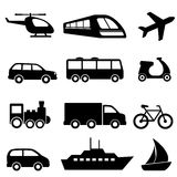 Transportation icons in black Royalty Free Stock Photo