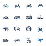 Transportation Icons - Blue Series. Set of 16 transportation icons, great for presentations, web design, web apps, mobile applications or any type of design Royalty Free Stock Images