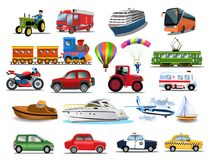 Transportation icons collection isolated on a white background. Transportation icons collection like tractor, ship, train, tram, motorcycle, plane, car isolated Stock Photos