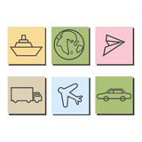 Transportation icons on colorful background. With rear shadow Vector Illustration