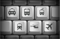 Transportation Icons on Computer Keyboard Buttons Royalty Free Stock Photos