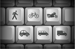 Transportation Icons on Computer Keyboard Buttons Stock Photography