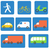 Transportation icons design elements. Vector. Illustration in flat style Stock Photography