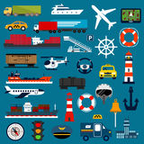 Transportation icons in flat style Stock Photography