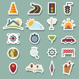 Transportation icons and map Royalty Free Stock Photos