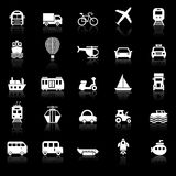 Transportation icons with reflect on black background Royalty Free Stock Photography