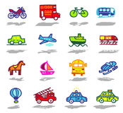 Transportation icons set. Vector color hand drawn icons with shadow Stock Photo