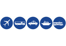 Transportation icons. Set of aeroplane, bus, car, ship and train icons Royalty Free Stock Images
