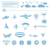 Transportation icons set - air symbols Stock Image