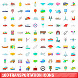 100 transportation icons set, cartoon style. 100 transportation icons set in cartoon style for any design vector illustration Stock Photos