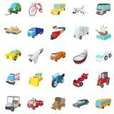 Transportation icons set, cartoon style Stock Photo