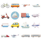 Transportation icons set, cartoon style Royalty Free Stock Photos