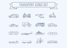 Transportation icons set. City cars and vehicles transport. Car, ship, airplane, train, motorcycle, helicopter. Outline. Transportation icons set. City cars and Royalty Free Stock Photo