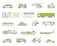 Transportation icons set. City cars and vehicles transport. Car, ship, airplane, train, motorcycle, helicopter. Outline. Transportation icons set. City cars and Royalty Free Stock Photos