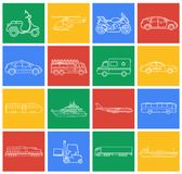Transportation icons set. City cars and vehicles transport. Car, ship, airplane, train, motorcycle, helicopter. Outline. Transportation icons set. City cars and Royalty Free Stock Images
