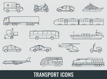 Transportation icons set. City cars and vehicles transport. Car, ship, airplane, train, motorcycle, helicopter. Outline. Transportation icons set. City cars and Royalty Free Stock Image