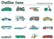 Transportation icons set. City cars and vehicles transport. Car, ship, airplane, train, motorcycle, helicopter. Outline. Transportation icons set. City cars and Stock Photography
