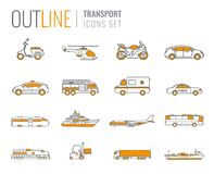 Transportation icons set. City cars and vehicles transport. Car, ship, airplane, train, motorcycle, helicopter. Outline. Transportation icons set. City cars and Royalty Free Stock Photography