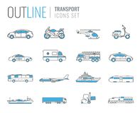 Transportation icons set. City cars and vehicles transport. Car, ship, airplane, train, motorcycle, helicopter. Outline. Transportation icons set. City cars and Stock Images