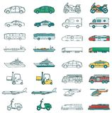 Transportation icons set. City cars and vehicles transport. Car, ship, airplane, train, motorcycle, helicopter. Outline. Transportation icons set. City cars and Stock Photo
