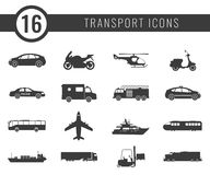 Transportation icons set. City cars and vehicles transport. Car, ship, airplane, train, motorcycle, helicopter. Silhouettes Vector illustration Stock Photography