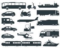 Transportation icons set. City cars and vehicles transport. Car, ship, airplane, train, motorcycle, helicopter. Silhouettes Vector illustration Royalty Free Stock Photography