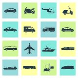 Transportation icons set. City cars and vehicles transport. Car, ship, airplane, train, motorcycle, helicopter. Silhouettes Vector illustration Stock Photo