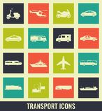 Transportation icons set. City cars and vehicles transport. Car, ship, airplane, train, motorcycle, helicopter. Silhouettes Vector illustration Royalty Free Stock Photo