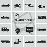 Transportation icons set. City cars and vehicles transport. Car, ship, airplane, train, motorcycle, helicopter. Silhouettes Vector illustration Royalty Free Stock Image