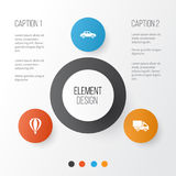 Transportation Icons Set. Collection Of Airship, Automobile, Van And Other Elements. Also Includes Symbols Such As. Transportation Icons Set. Collection Of Royalty Free Stock Image