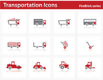 Transportation icons set - Firebrick Series. Set 1 Stock Photo