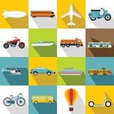 Transportation icons set, flat style Stock Photography