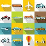 Transportation icons set, flat style. Transportation icons set. Flat illustration of 16 flat icons for web vector illustration